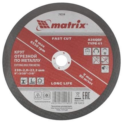 Диск отрезной абразивный MATRIX 230 х 2,0 х 22 мм 74354