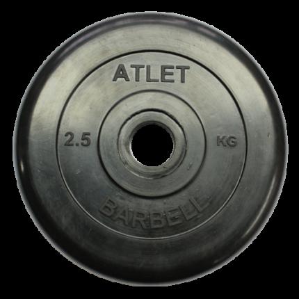Блин обрезиненный MB Barbell Atlet 2,5 кг сталь 31 мм черный