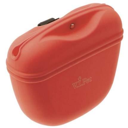 Сумочка для лакомств V.I.PET силиконовая с магнитным замком, красная
