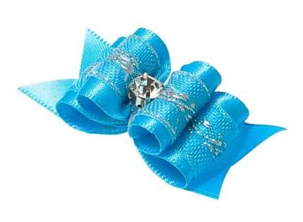 Бантик V.I.Pet Ностальжи Узор, тройной объемный, голубой 5 х 1,6 см, 2 штуки
