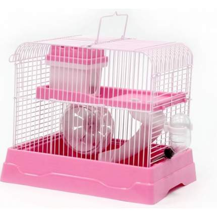 Клетка прямоугольная для хомяка №1, укомплектованная, розовая, 30х23х25,7 см
