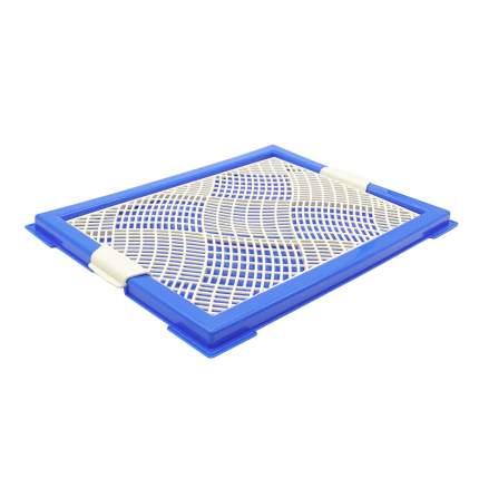 Лоток для собак ZooOne Мини, с сеткой, синий, 46x34x2 см