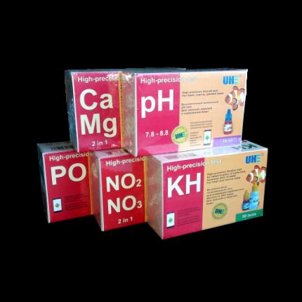 Набор тестов для морского аквариума UHE на pH, KH, NO2, NO3, PO4, Ca, Mg