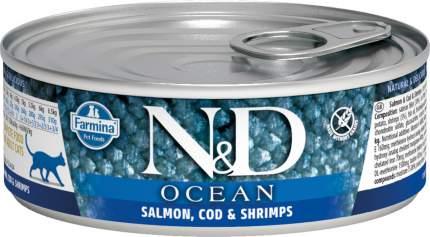 Консервы для кошек Farmina N&D Ocean, сибас, кальмары и креветки, 80г