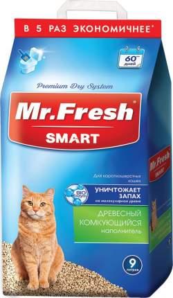 Комкующийся наполнитель Mr.Fresh для короткошерстных, древесный, 4.2 кг, 9 л