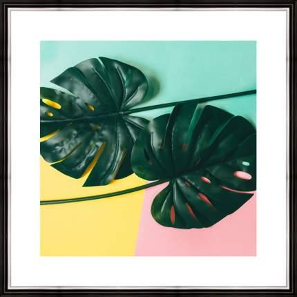 """Картина в багете 40х40 см """"Листья монстеры на цветном фоне"""" Ekoramka BE-103-334"""
