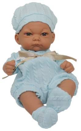 Пупс 1 TOY Baby Doll в голубом комбинезоне, пинетках и шапочке, 25 см