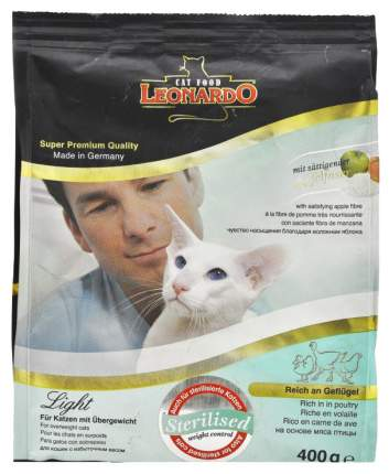 Сухой корм для кошек Leonardo Light, облегченный, курица, 0,4кг