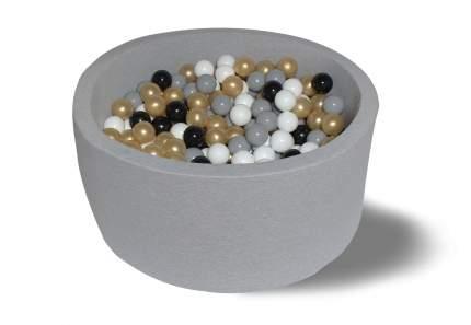 Сухой игровой бассейн Элит серый 40см с 200 шарами: белый, серый, черный, золотой