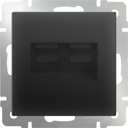 Компьютерная розетка Werkel Ethernet RJ-45 WL08-RJ45+RJ45 a033767 черный
