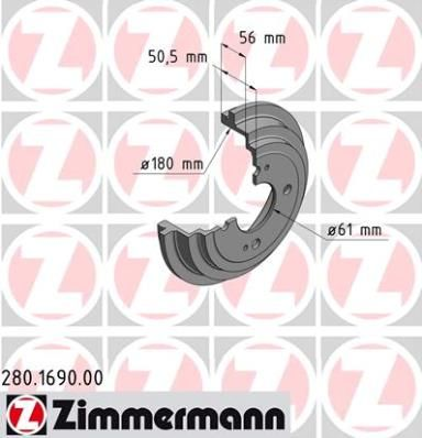 Тормозной барабан ZIMMERMANN 280.1690.00