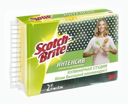 Губка 3M scotch-brite интенсив формованная для посуды 67 мм х 93 мм 2 штуки в упаковке