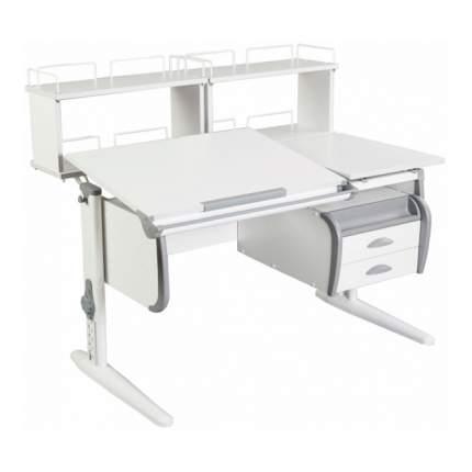 Парта Дэми СУТ-25-04Д2 WHITE DOUBLE со столешницей, приставками белый, серый