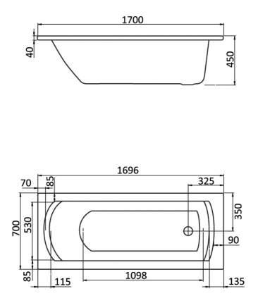 Акриловая ванна Santek Монако 170х70 без гидромассажа