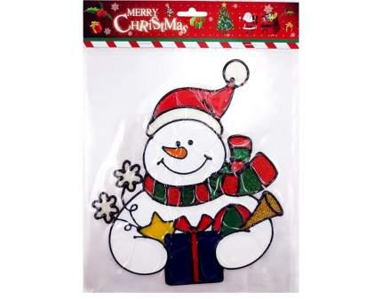 Наклейка на стекло Снеговик в Шарфе с синим подарком 22*26 см ST011002B