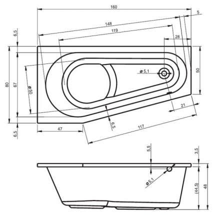 Акриловая ванна Riho Delta 160х80 правая без гидромассажа
