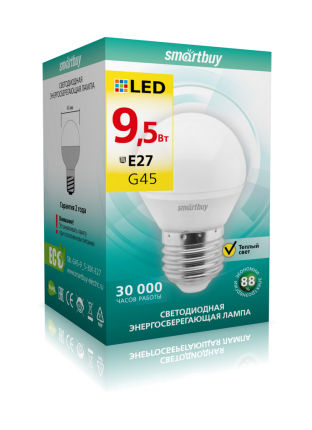 Лампа светодиодная Шар Smartbuy 9,5W Е27 3000K