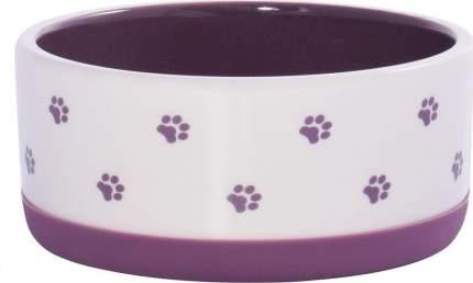 Миска для собак КерамикАрт, керамическая нескользящая, белая с фиолетовым, 360мл