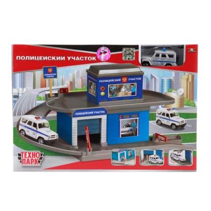 Гараж-паркинг Технопарк полицейский участок с металлической машинкой 7,5 см