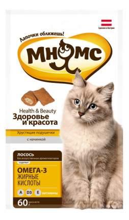 Лакомство для кошек МНЯМС Хрустящие подушечки, лосось, 60г