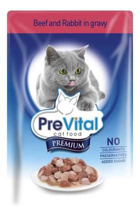 Влажный корм для кошек PreVital Premium, с говядиной и кроликом в соусе, 24шт по 100г