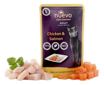 Влажный корм для кошек Nuevo Adult, с мясом курицы и лососем, 16шт по 85г