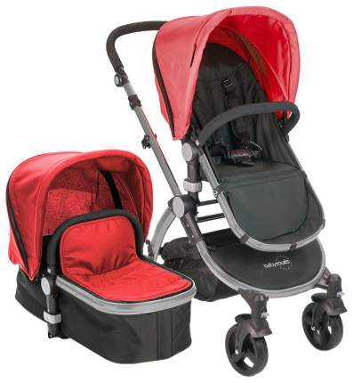 Коляска 2 в 1 Babyroues Letour Ii red, frosted silver frame