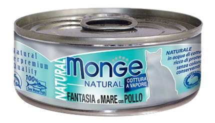 Консервы для кошек Monge Natural, морепродукты, курица, 80г