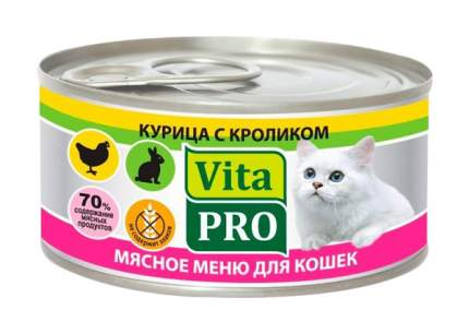 Консервы для кошек VitaPRO Мясное меню, кролик, 100г
