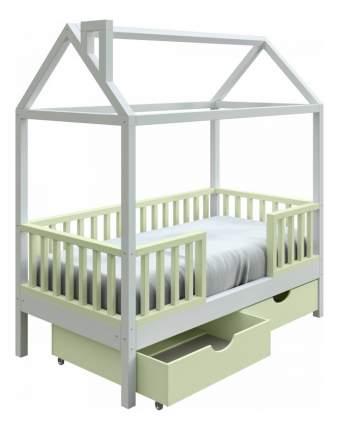 Кровать-домик Трурум KidS Сказка узкий бортик, ящики фисташково-белая