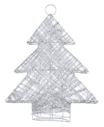 Snowmen Новогоднее объемное украшение серебристая елочка 34 см Snowmen Е0150