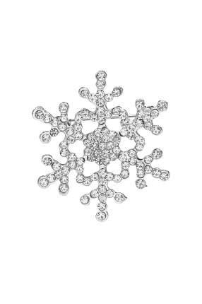 """Брошь """"Снежный кристалл"""" Nothing But Love серебристый; белый"""