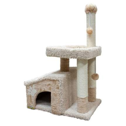 Комплекс для кошек Зооник, мех+ковролин, бежевый, 64х47х103см