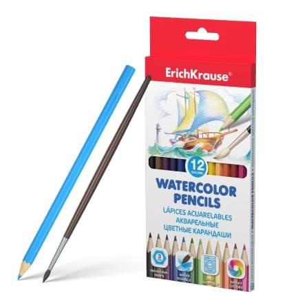 Акварельные карандаши шестигранные ErichKrause 12 цветов с кисточкой