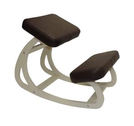 Стул-баланс Конёк-Горбунёк Балансирующий коленный стул Айвори / Коричневая экокожа