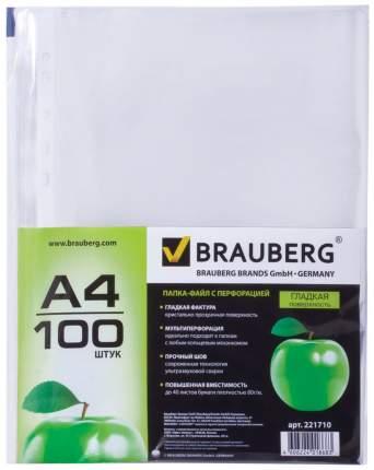 Папки-файлы перфорированные Brauberg «Яблоко» 221710 А4 100 шт 35 мкм...