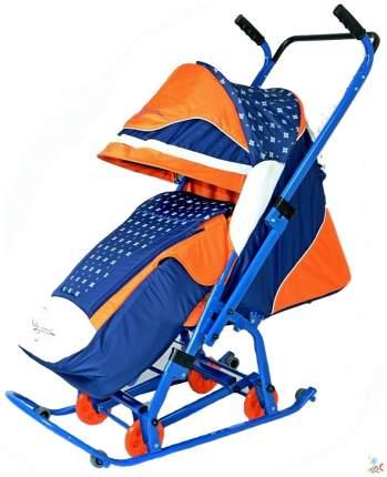Санки-коляска R-Toys Скользяшки Мозаика синий/оранжевый/белый