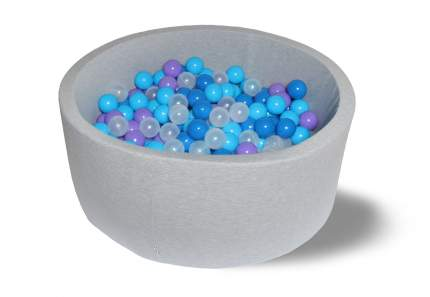 Сухой бассейн Грозное небо серый 40см с 200 шарами: прозрачный, синий, голубой, фиолетовый