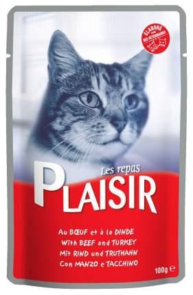 Влажный корм для кошек Plaisir, говядина, индейка, кусочки, 22шт, 100г