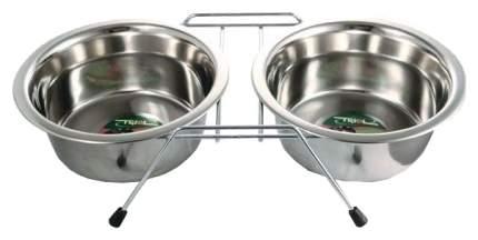 Двойная миска для собак Triol, сталь, серебристый, 2 шт по 0.2 л