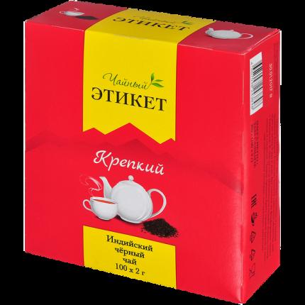 Чай Этикет крепкий черный индийский 100 пакетиков