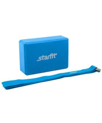 Комплект из блока и ремня для йоги FA-104, синий