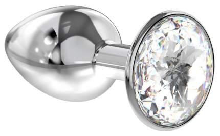 Малая серебристая анальная пробка Diamond Clear Sparkle Small с прозрачным кристаллом 7 см