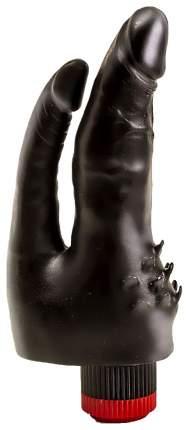 Чёрный вибромассажёр с двумя стволами и лепестками 17 см