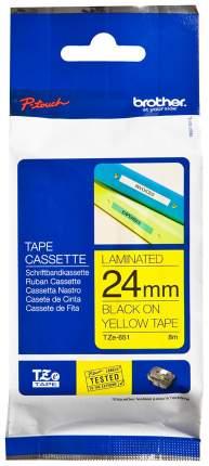 Лента для печати наклеек Brother TZe-651 Black on yellow 24 мм