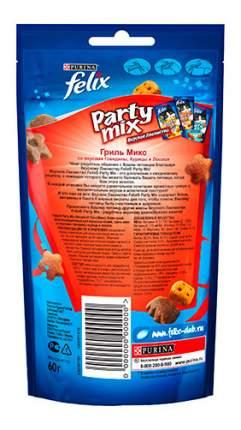 Лакомство для кошек Felix Party mix Гриль Микс фигурки, говядина, курица, лосось, 60 г