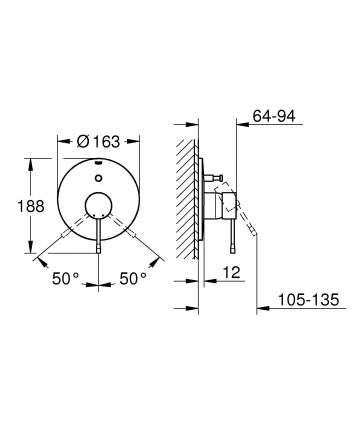 Смеситель для встраиваемой системы Grohe Essence+ 19285001 серебристый