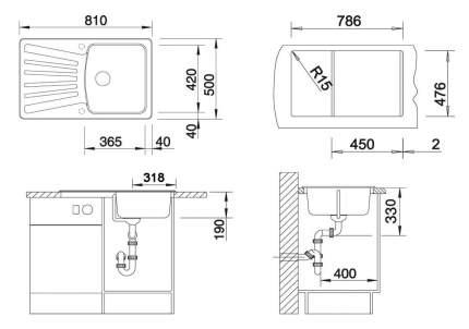 Мойка для кухни гранитная Blanco Nova 45 S 511696 алюметаллик