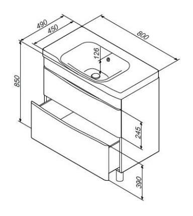 Тумба для ванной AM.PM M80FSX0802WG без раковины