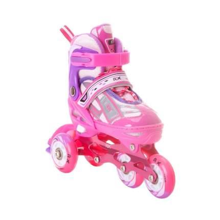 Раздвижные роликовые коньки RGX Yuppie Pink LED подсветка колес S 31-34